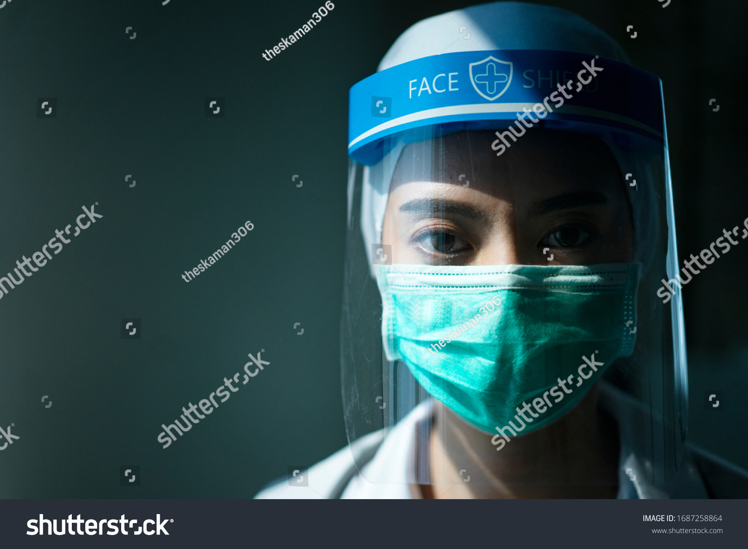 Closeup Asian female Doctor wearing face shield and PPE suit for Coronavirus outbreak or Covid-19, Concept of Covid-19 quarantine #1687258864