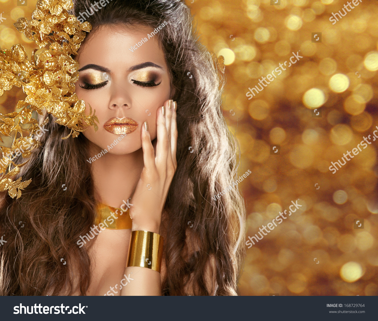 Glitz Glam Blue Diamontrigue Jewelry: Fashion Beauty Girl Portrait Isolated On Golden Christmas
