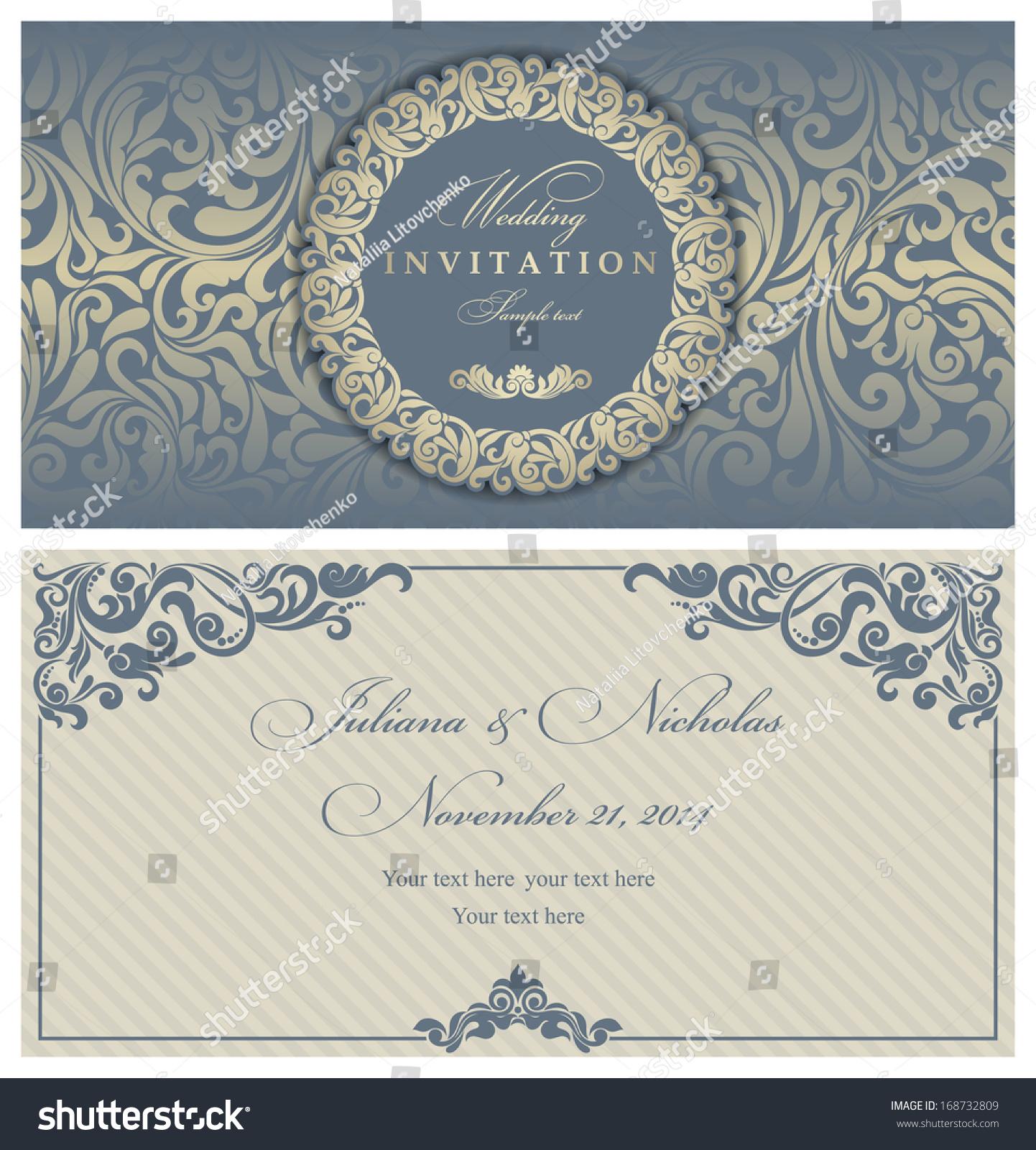 Wedding Invitation Cards Baroque Style Blue Stock Photo (Photo ...