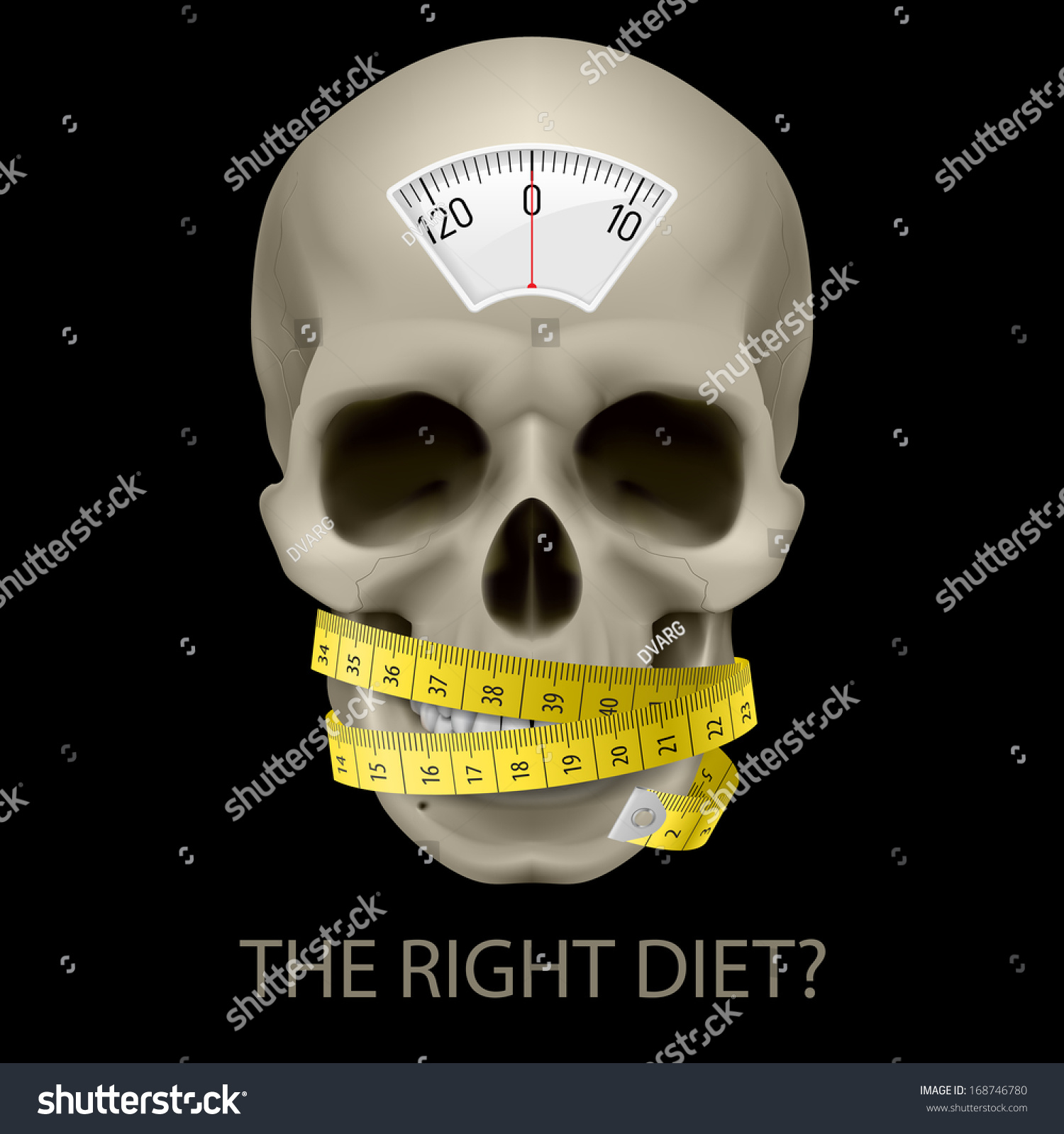 Skull balance scale measuring tape text stock vector 168746780 skull with balance scale measuring tape and text beneath as symbol of unhealthy diet buycottarizona Images