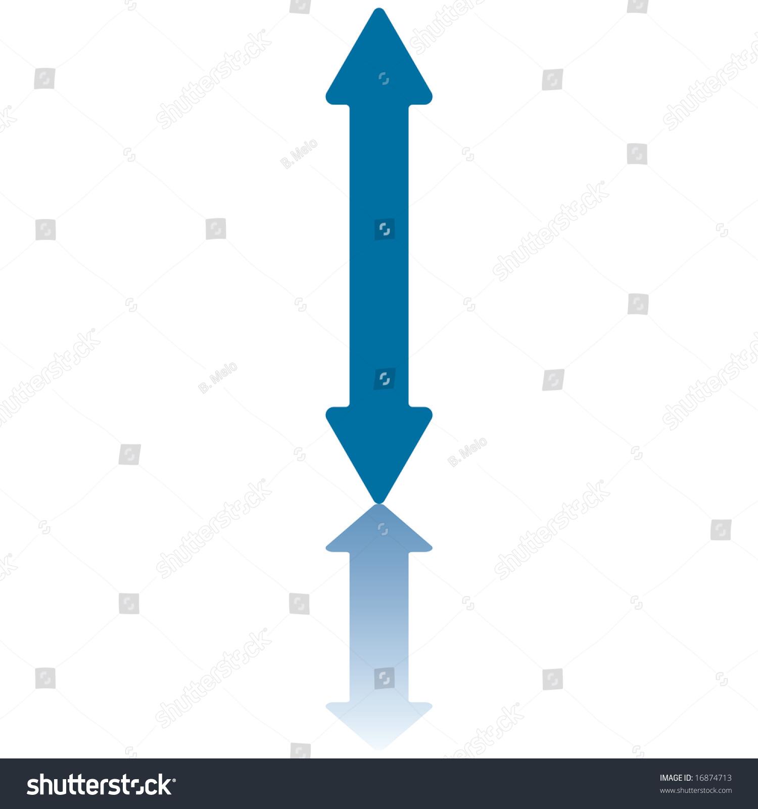 Double Arrowhead Vertical Arrow Reflecting On Stock Vector ...