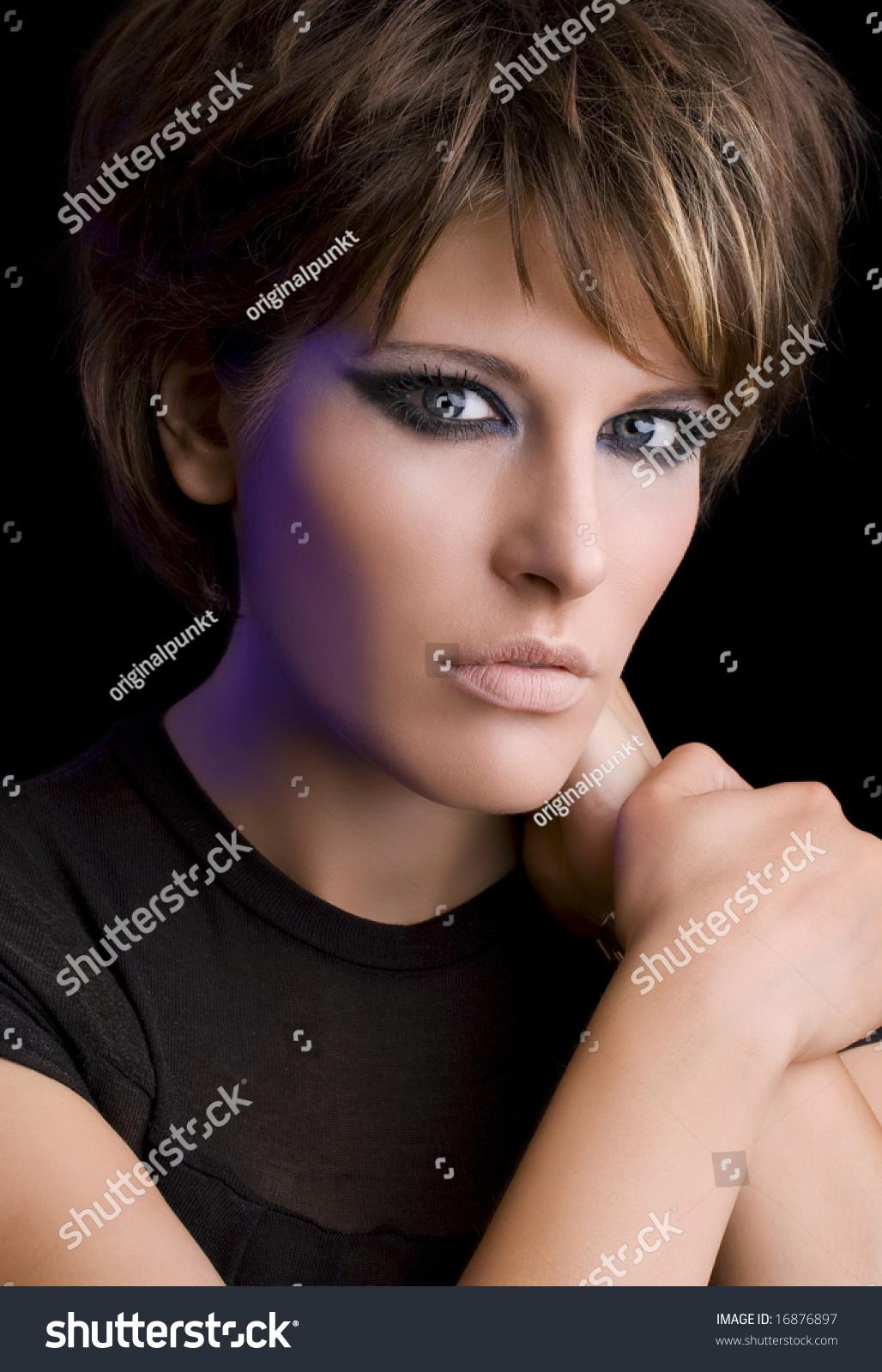 Beautiful Woman Catlike Eyes Black Makeup Stock Photo Edit Now