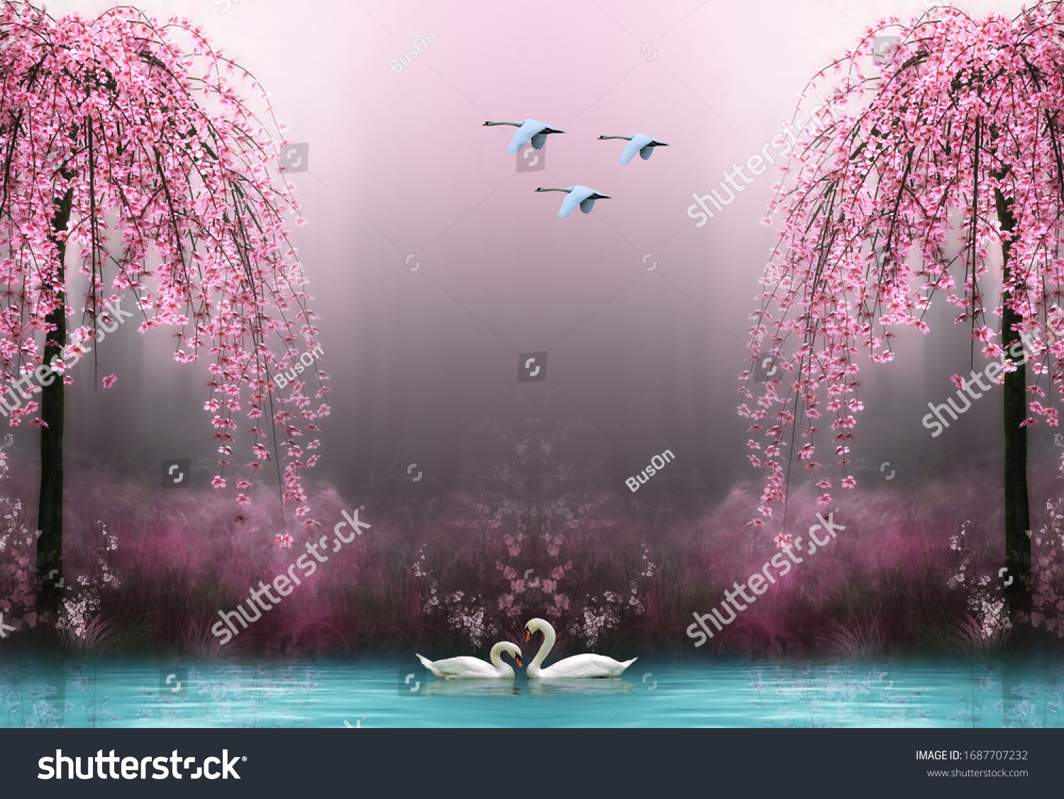 3d wallpaper swan pink tree water #1687707232
