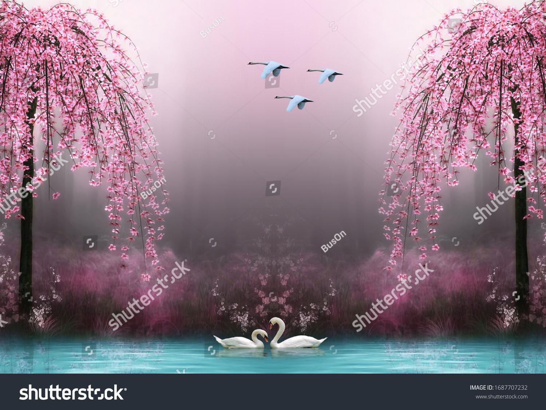 3d wallpaper swan pink tree water