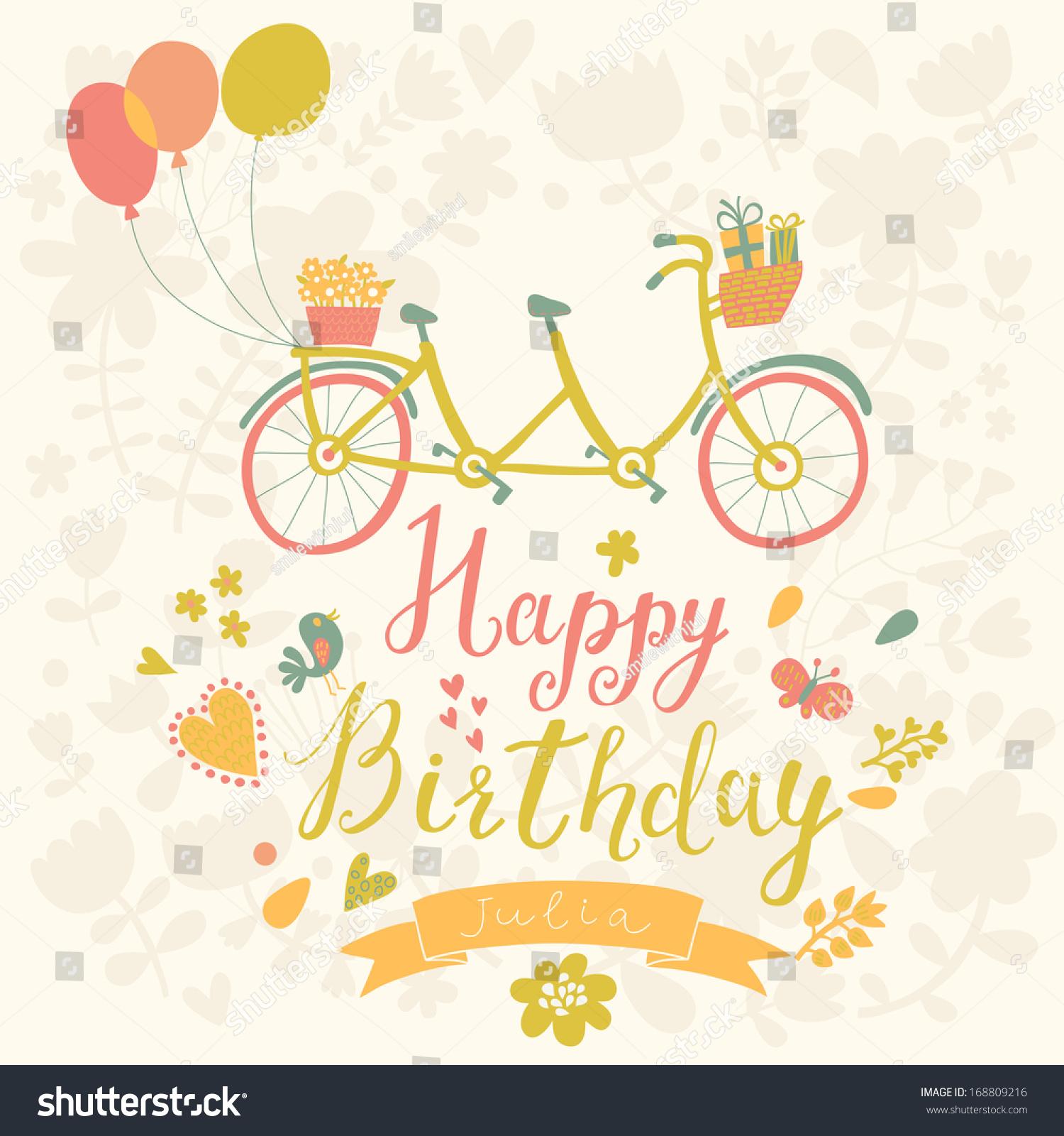 Happy Birthday Card Bright Colors Tandem Stock Vector