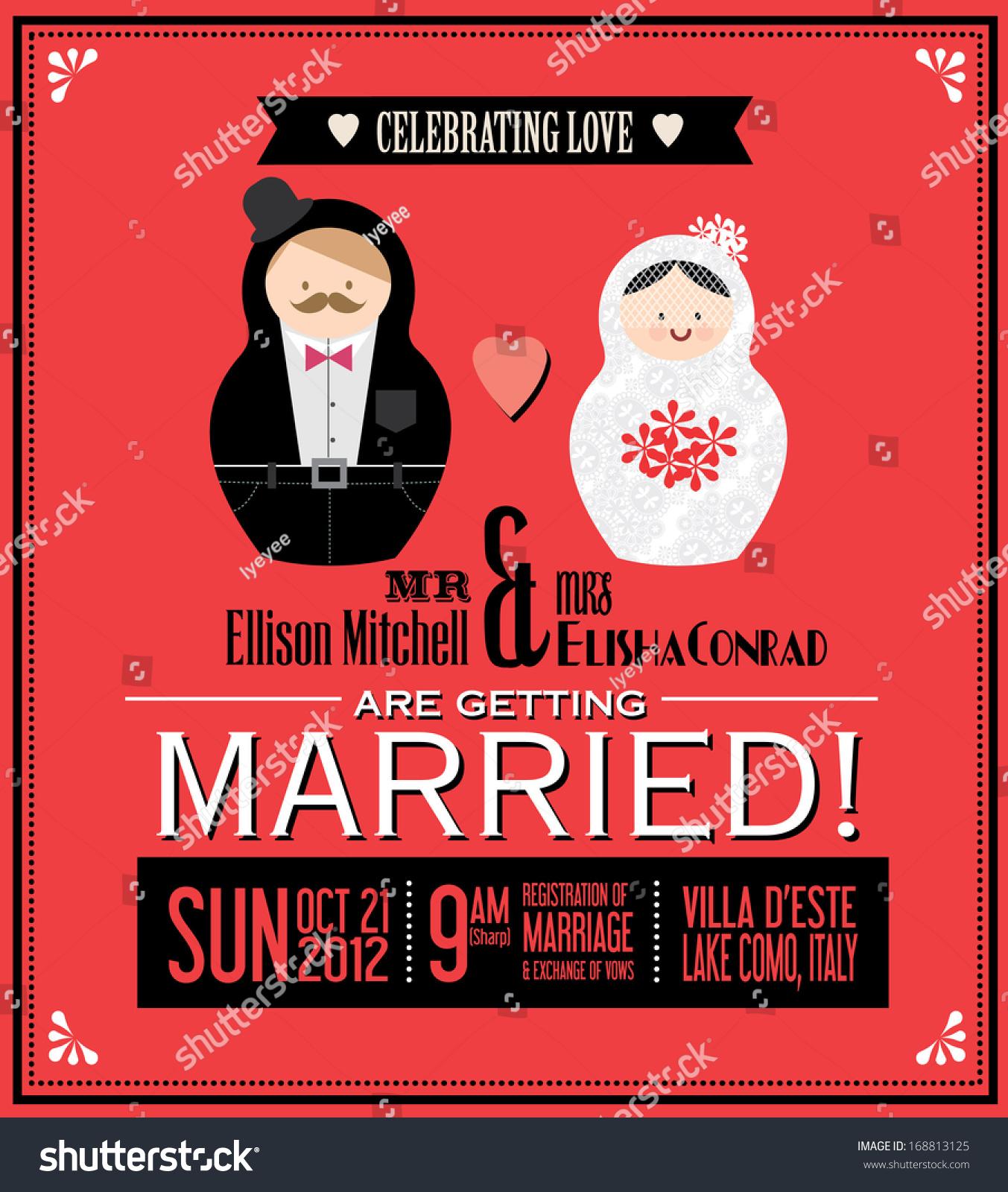 Russian Doll Wedding Invitation Card Template Stock Vector HD ...