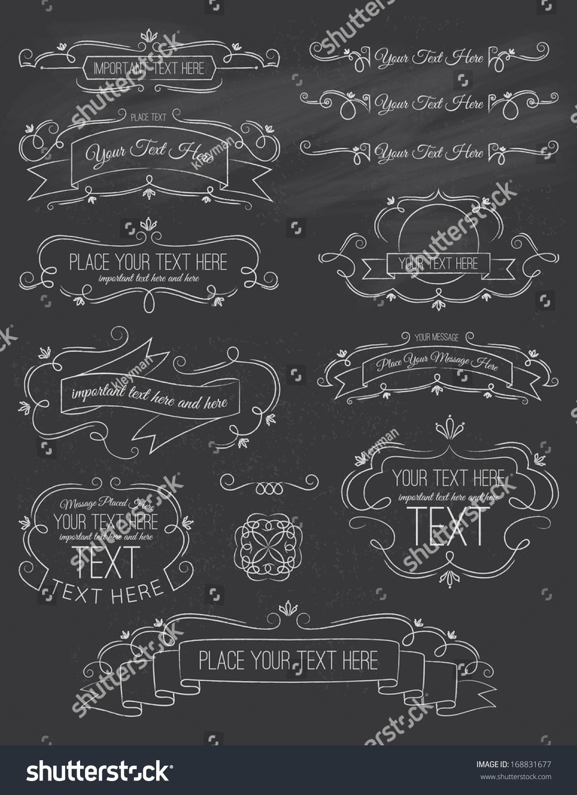 vintage calligraphy chalk board elements seven stock vector