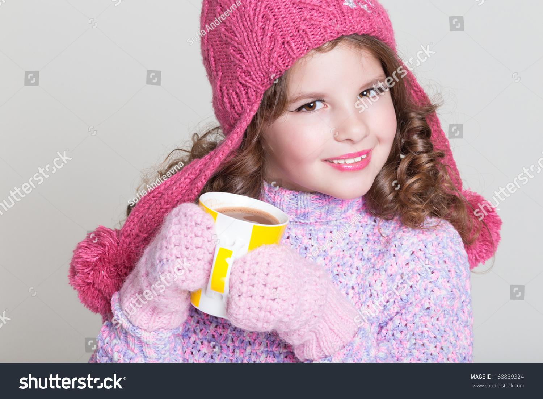 4f6613ec3ce Beautiful Child Winter Hat Drinking Hot Stock Photo (Edit Now ...