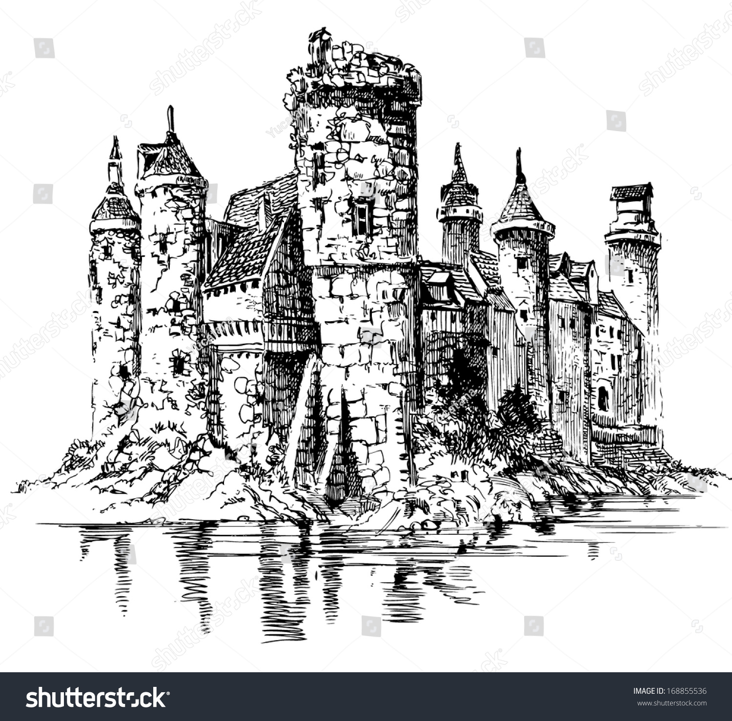 Medieval Castle Graphic Drawing Stock Vector 168855536 ...