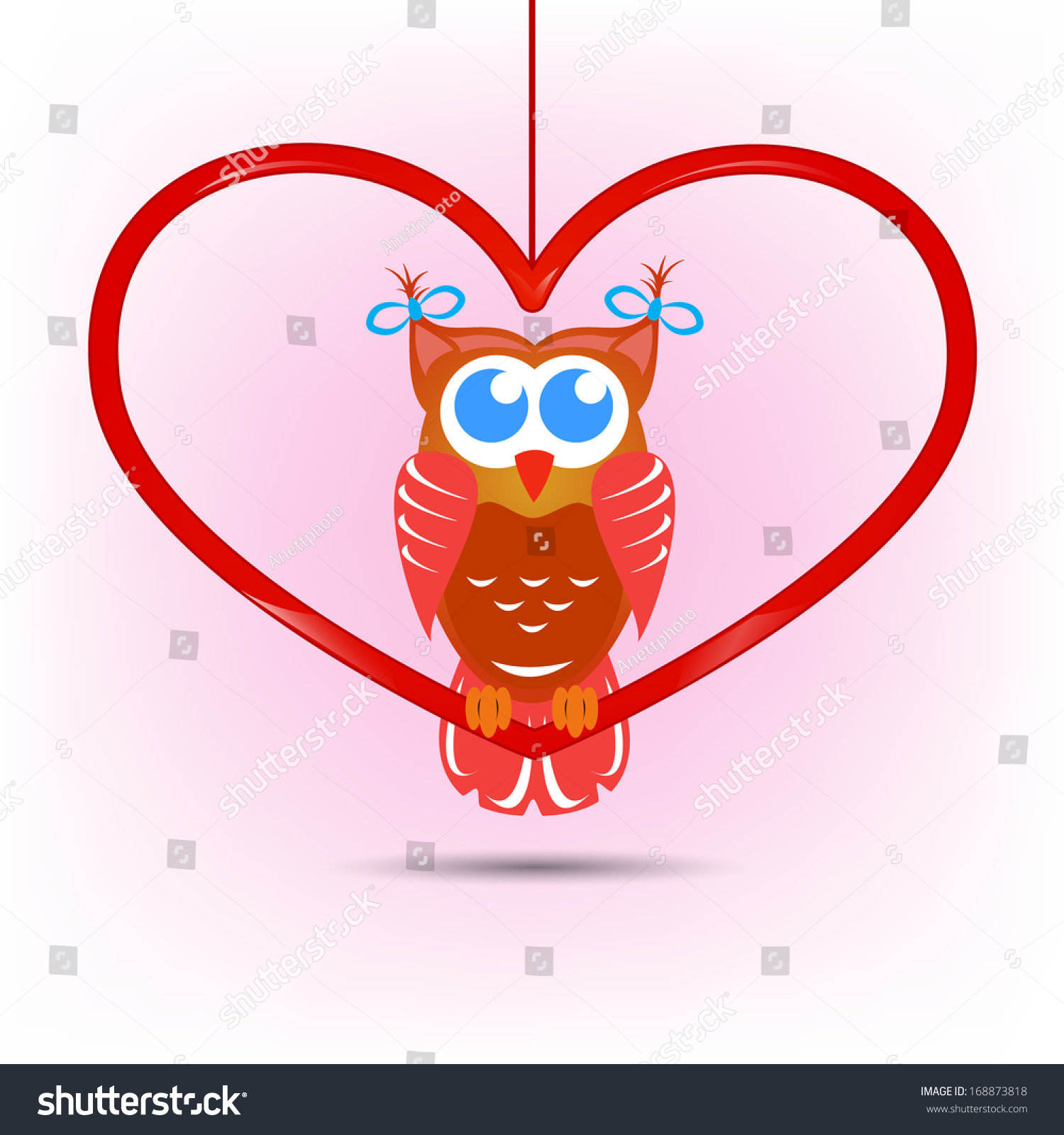 Cute Owl Valentines Day Card Stock Vector Royalty Free 168873818