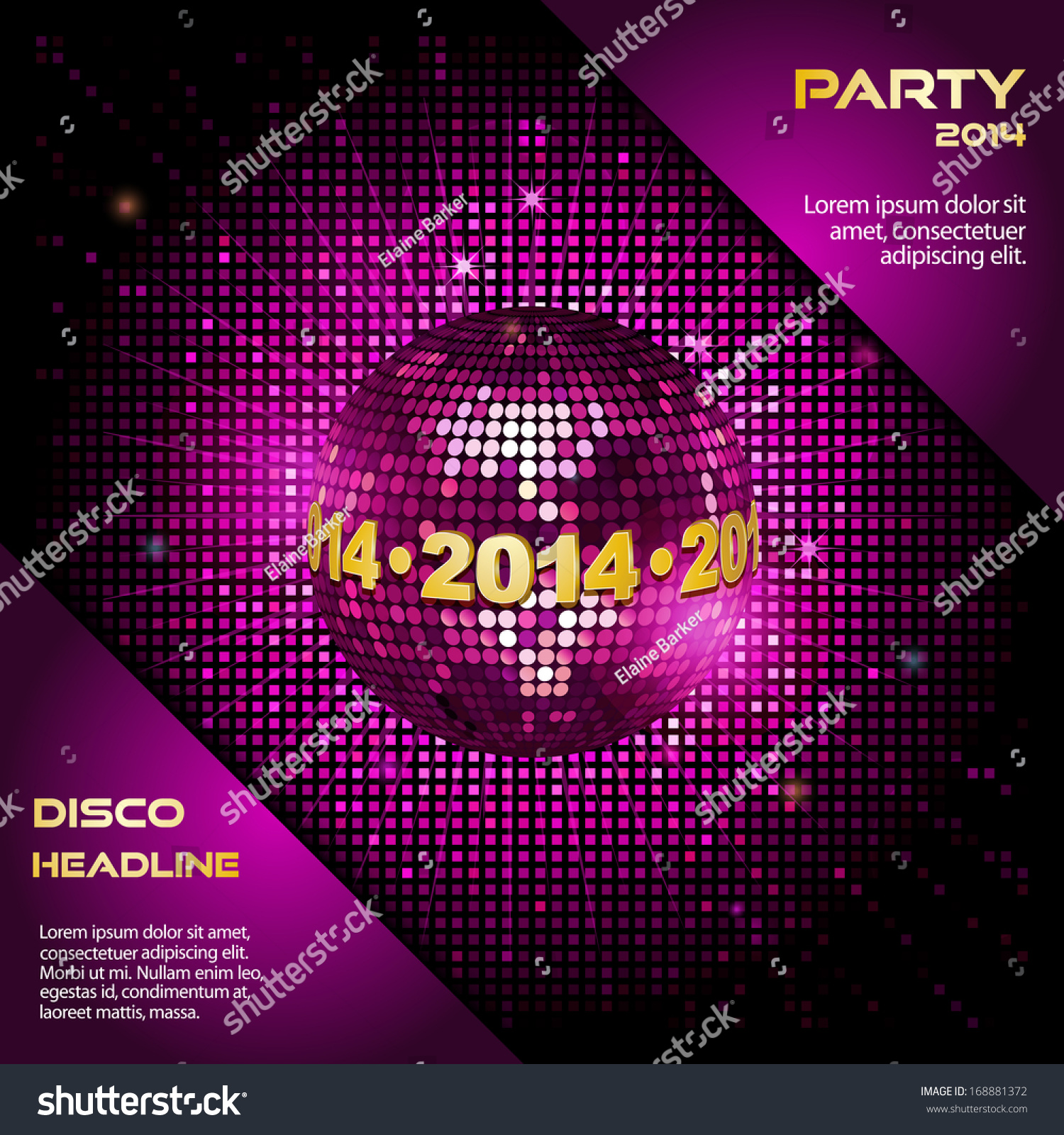 Pink Disco Ball with 2014 Border on a… Stock Photo 168881372