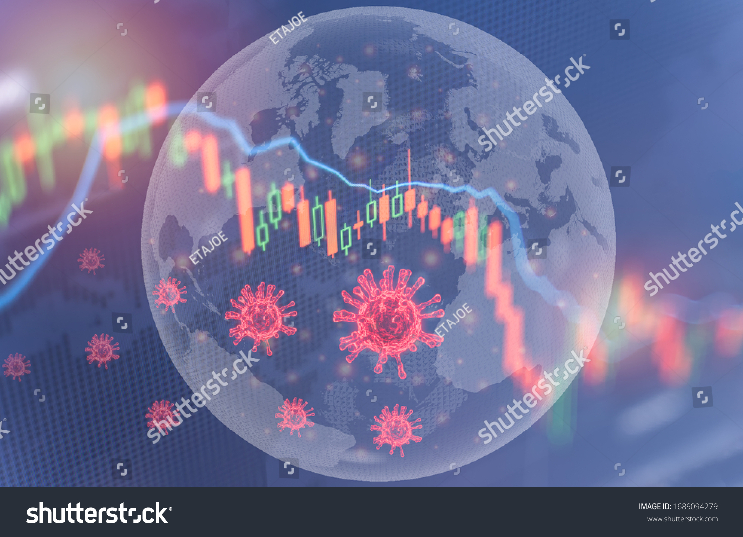 Coronavirus impact global economy stock markets financial crisis concept,The coronavirus or covid-19 sinks the global stock exchanges. Graphs representing the stock market crash caused by Coronavirus  #1689094279