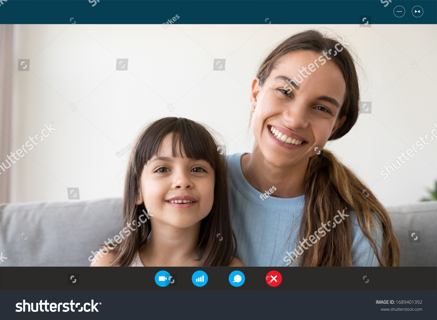 Headshot portrait of smiling young mother and little daughter speak talk on video call from home, screen view of happy mom and small girl child chat using Webcam, communicate online on quarantine #1689401392