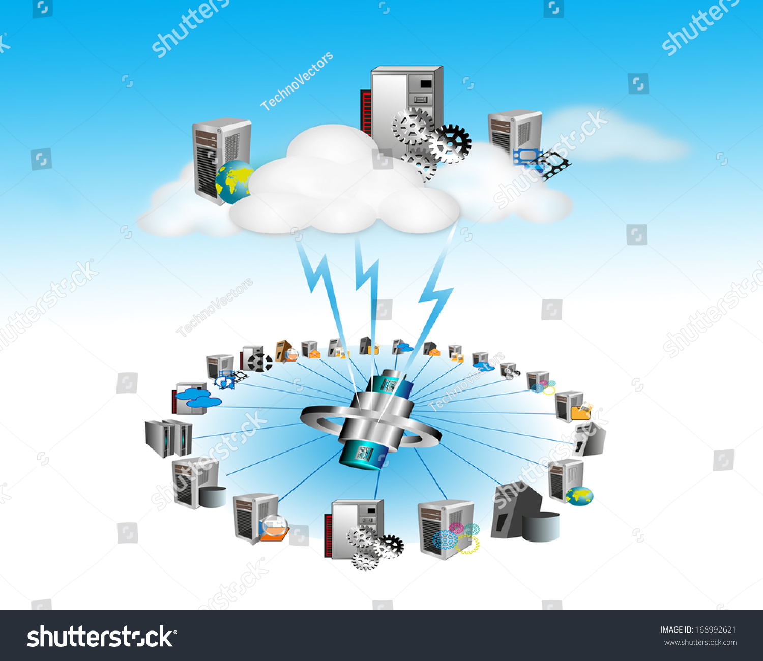 Networking Cloud Computing: Cloud Computing Network On A Blue Cloud Background Stock