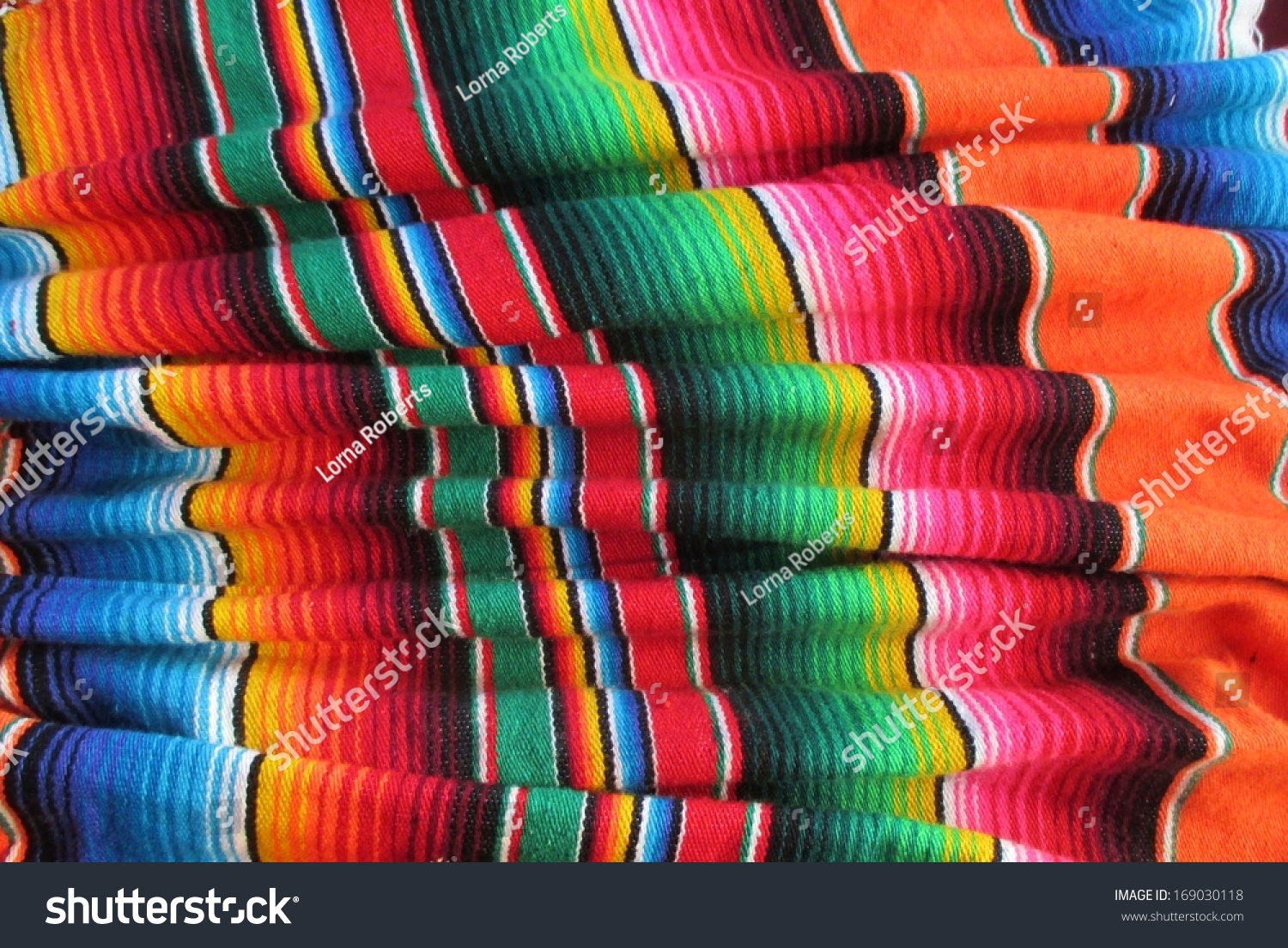Mexican Traditional Handwoven Rug Poncho Fiesta With Stripes And