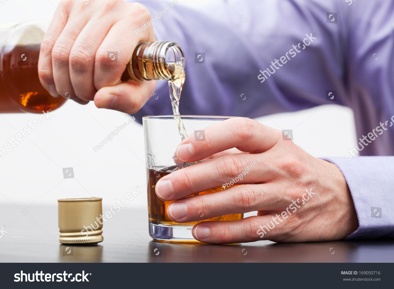 Businessman Hands Pouring Alcohol Into Glass Stock Photo ...