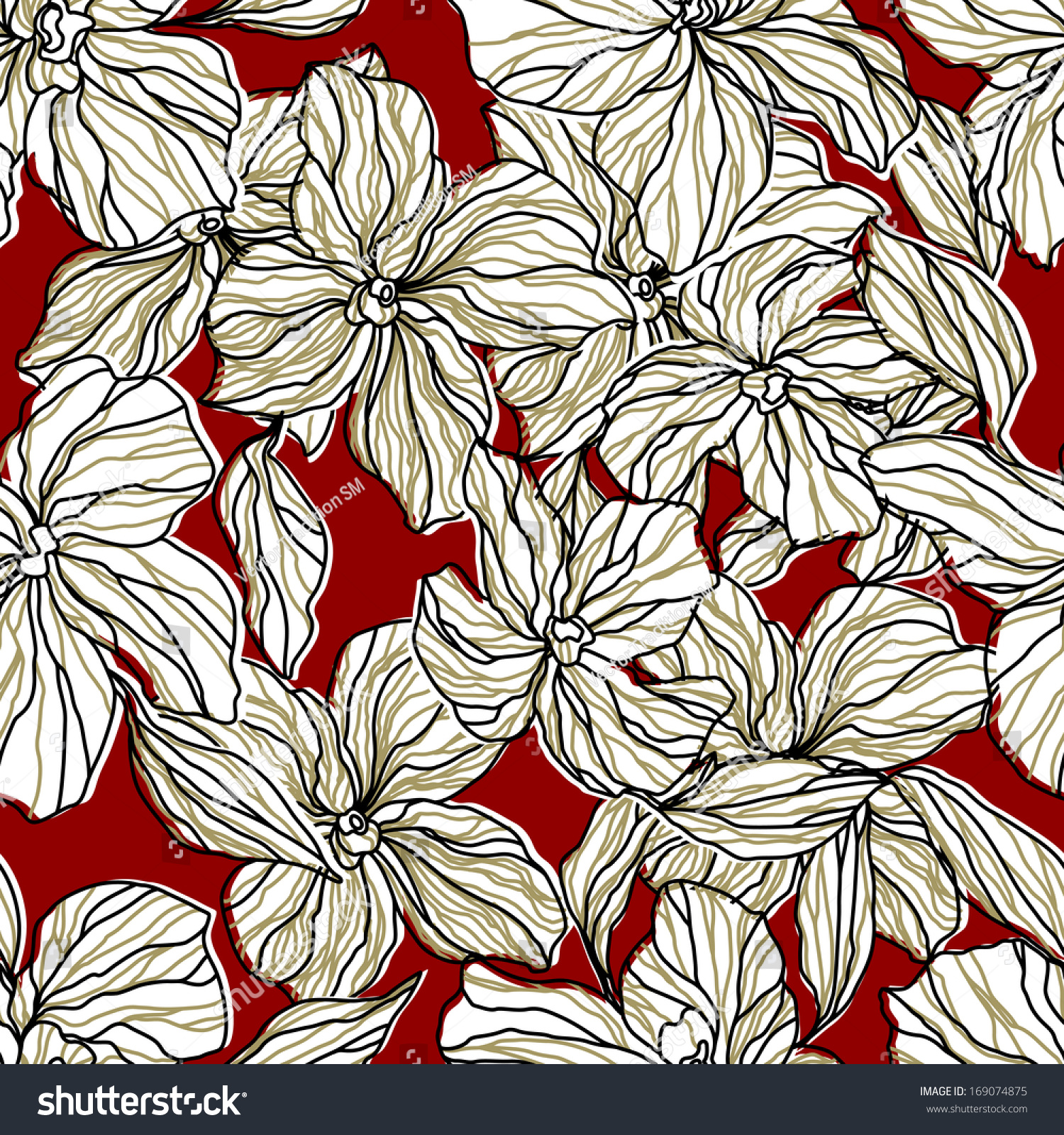 Abstract Floral Seamless Pattern White Flowers Stock Illustration