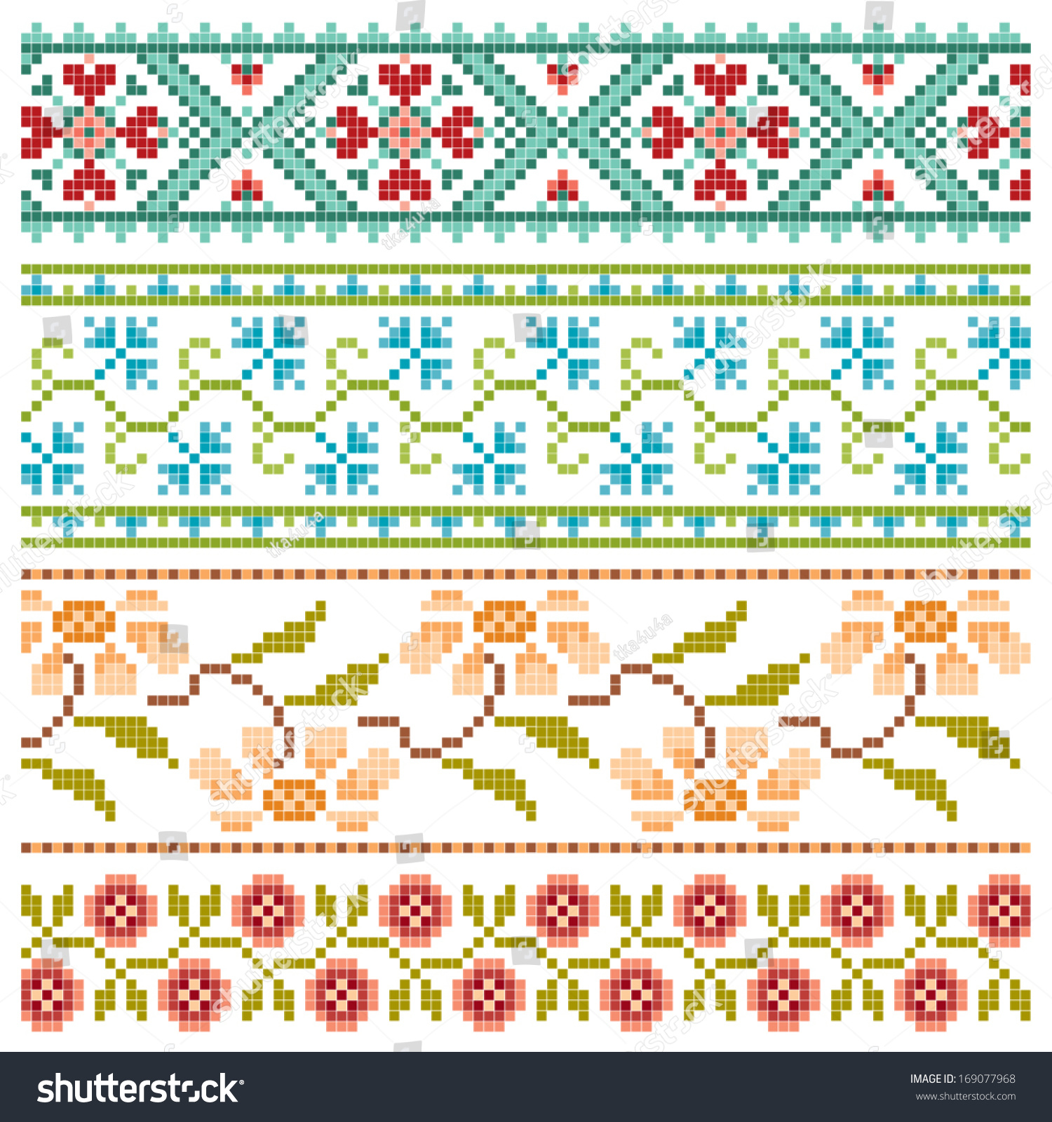 Set embroidery pretty flower borders stock vector 169077968 set of embroidery pretty flower borders mightylinksfo