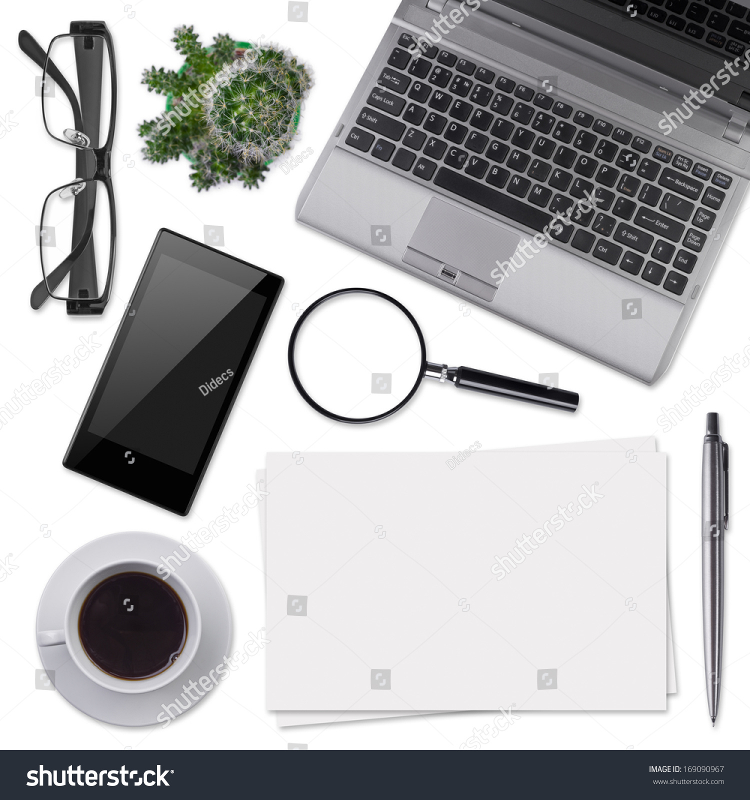 Modern Office Desk Supplies Isolated On Stock Photo