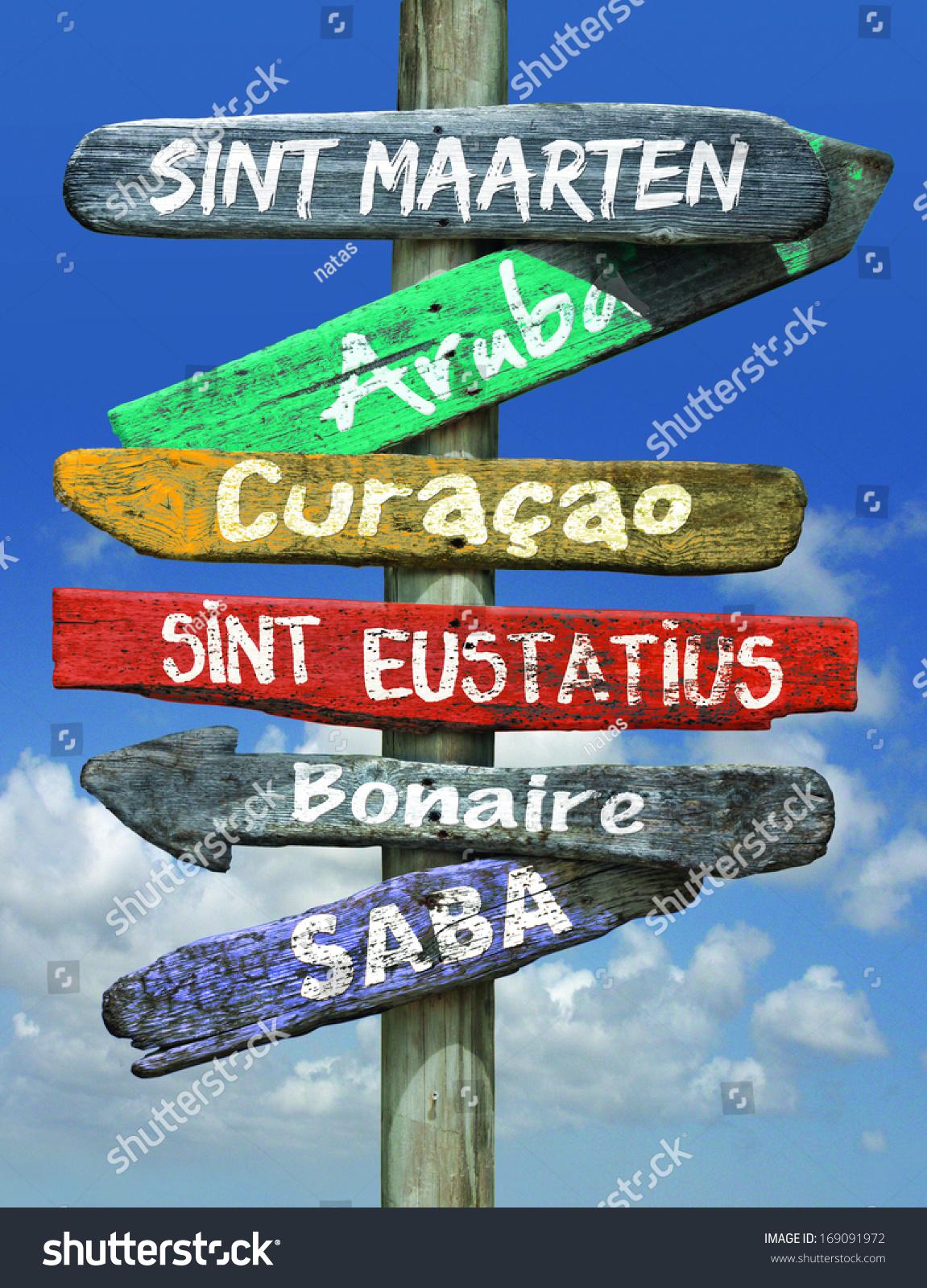 Islands Dutch Caribbean Sign Post Stock Photo 169091972