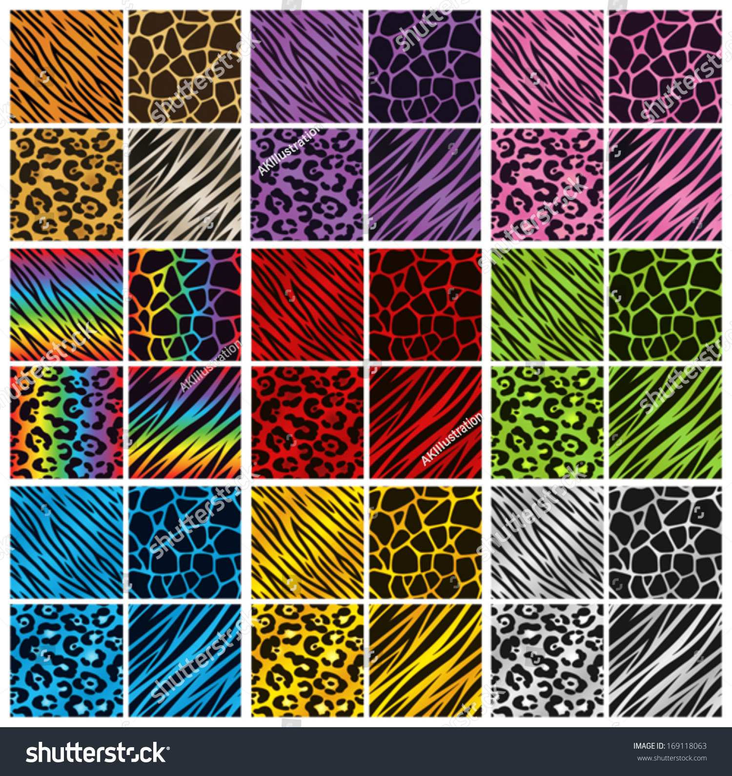 Collection 36 Different Animal Print Backgrounds Stock