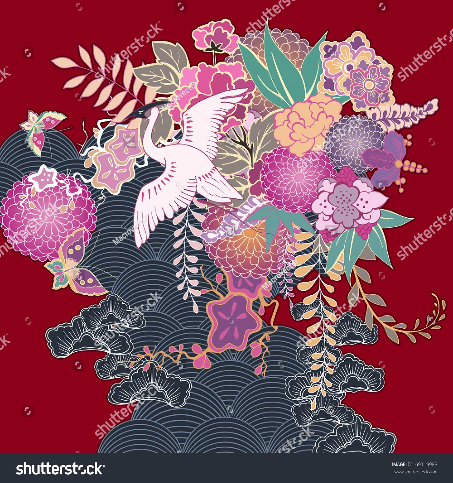 vintage kimono floral motif vector illustration stock vector 169119983 shutterstock. Black Bedroom Furniture Sets. Home Design Ideas
