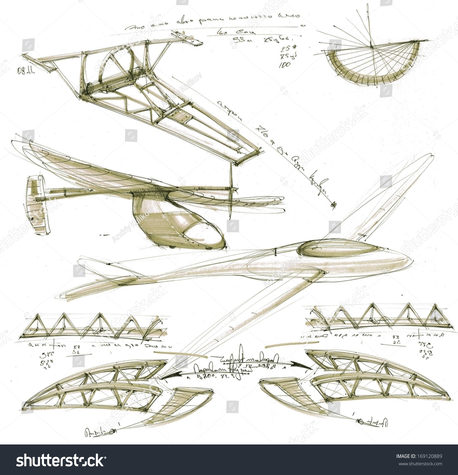 Hand Painted Flying Machines And Details Stock Photo ...