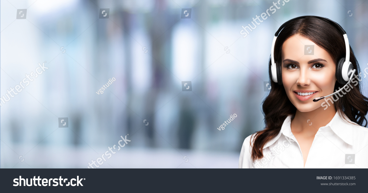 Call Center Service. Customer support or sale agent. Female caller or receptionist phone operator. Copy space for some text, advertising or slogan. Help, answering and telemarketing concept. #1691334385