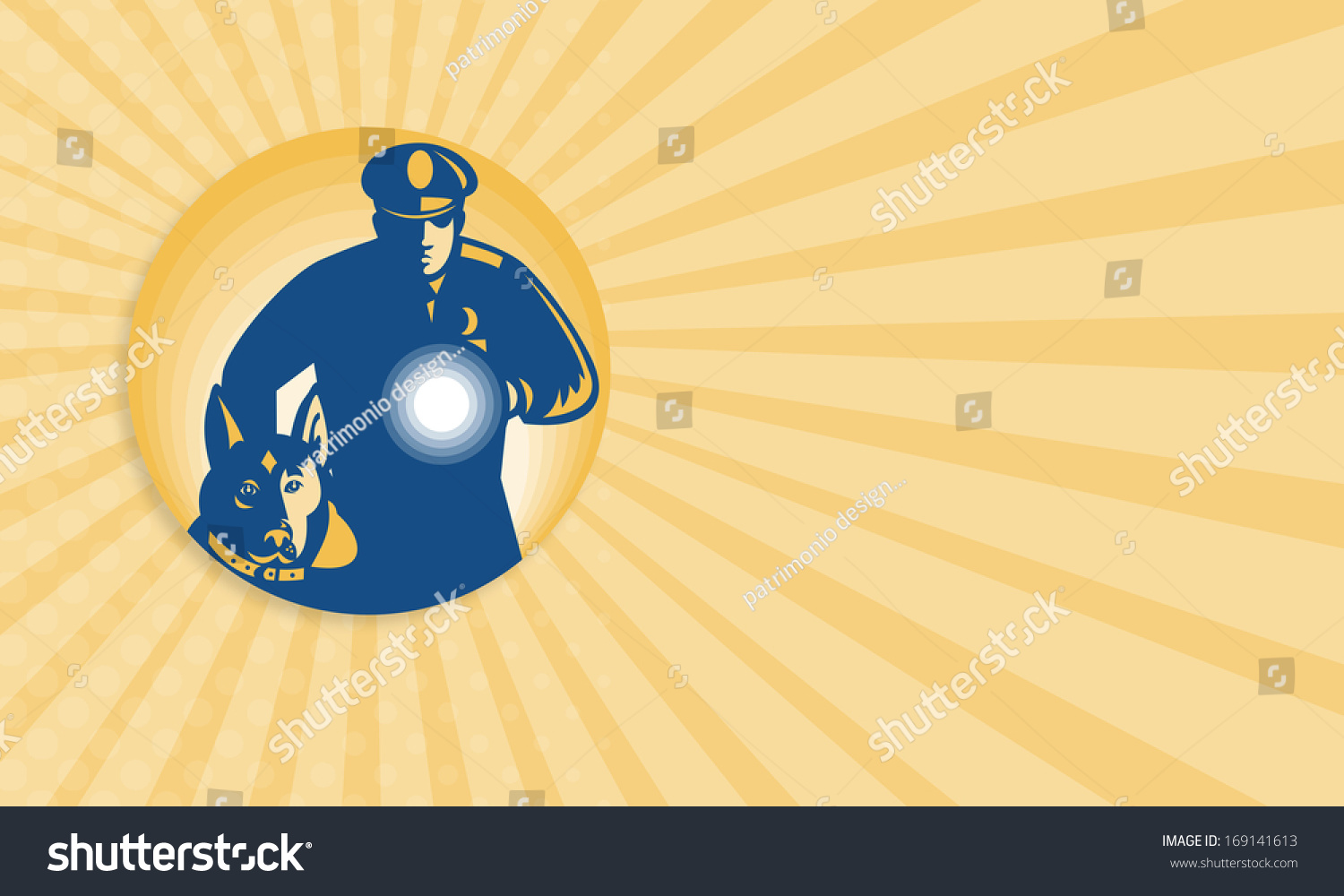 Business card template showing illustration security stock business card template showing illustration of a security guard policeman with police guard dog and flashlight colourmoves