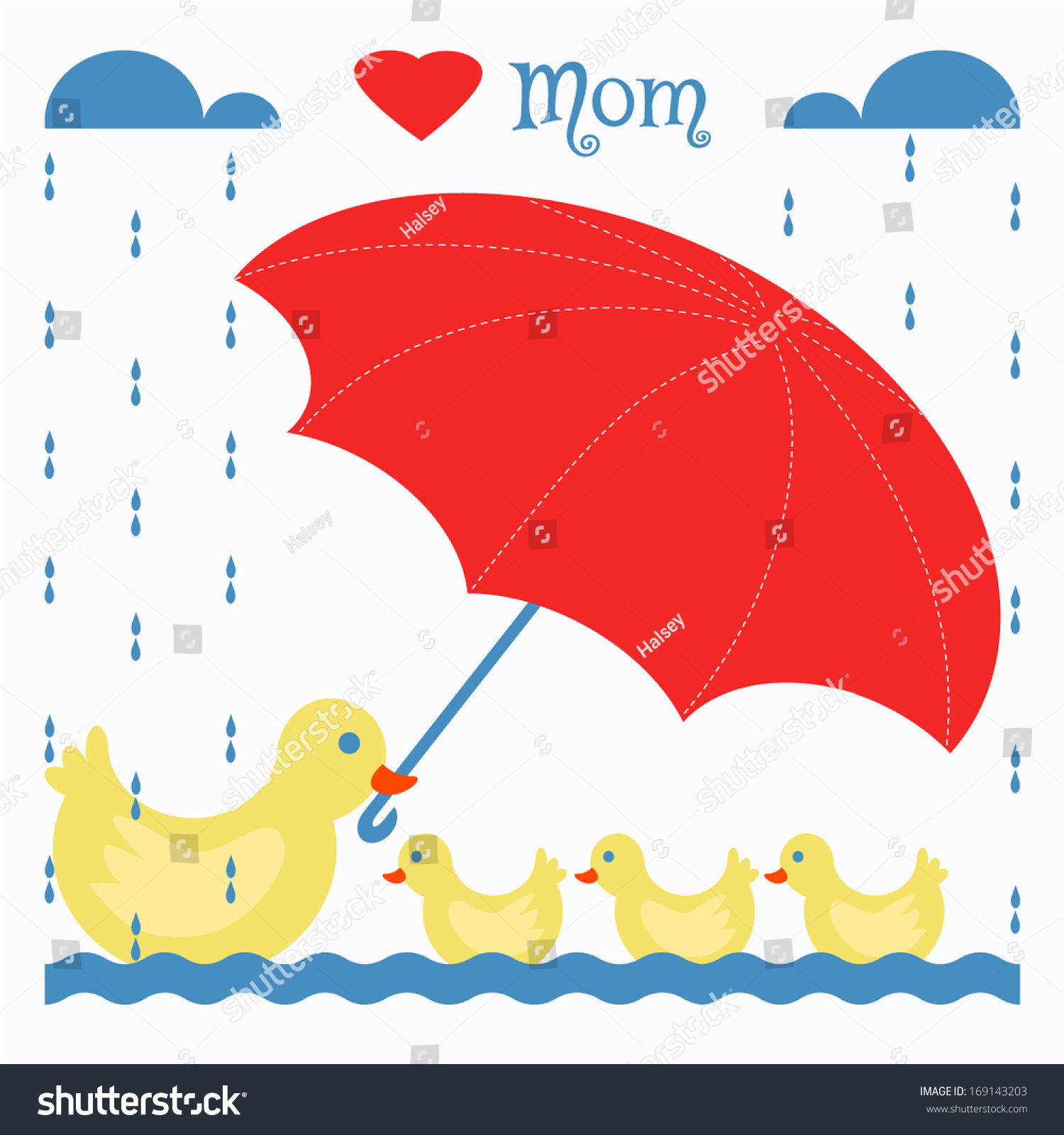 Mother Duck Holding Umbrella Baby Ducks Stock Vector 169143203 ...