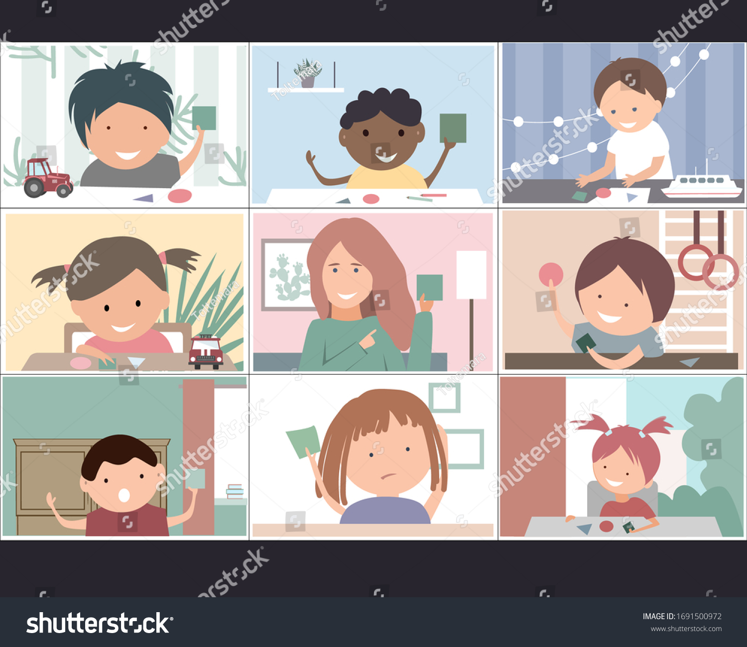 Online Education Concept Preschool Kindergartens Toddler Stock Vector Royalty Free 1691500972