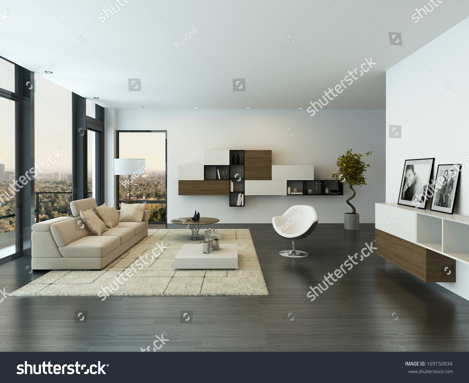 contemporary living room loft interior stock illustration