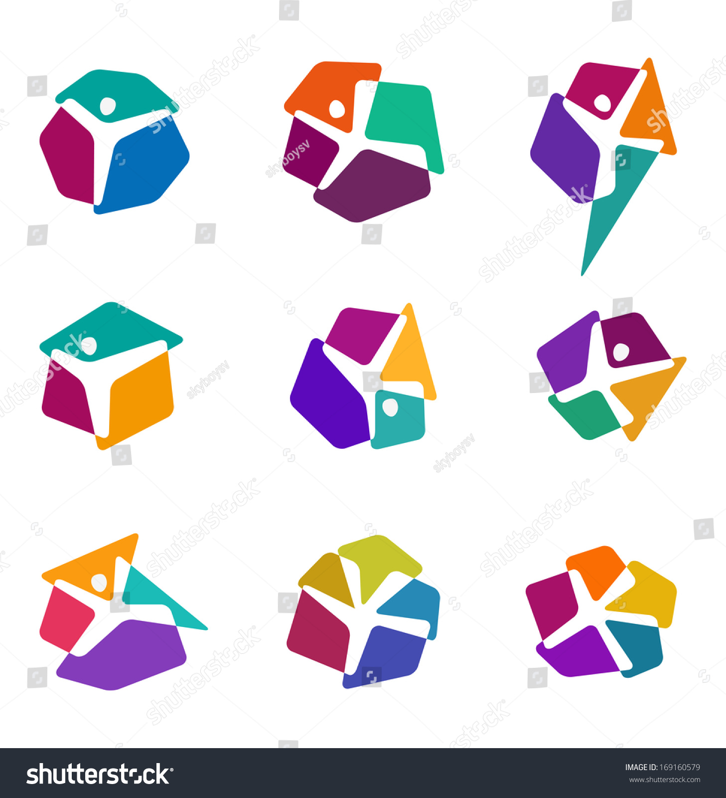 design colorful people vector logo template stock vector  design colorful people vector logo template y x letters icon