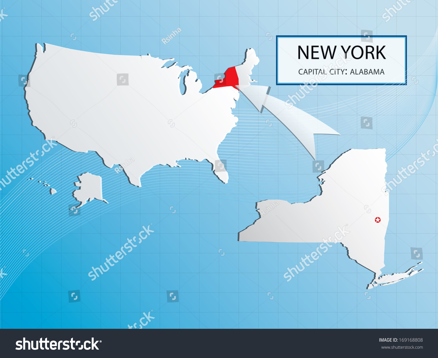 New York Map Marked Usa Map Stock Vector Shutterstock - Alabama map usa