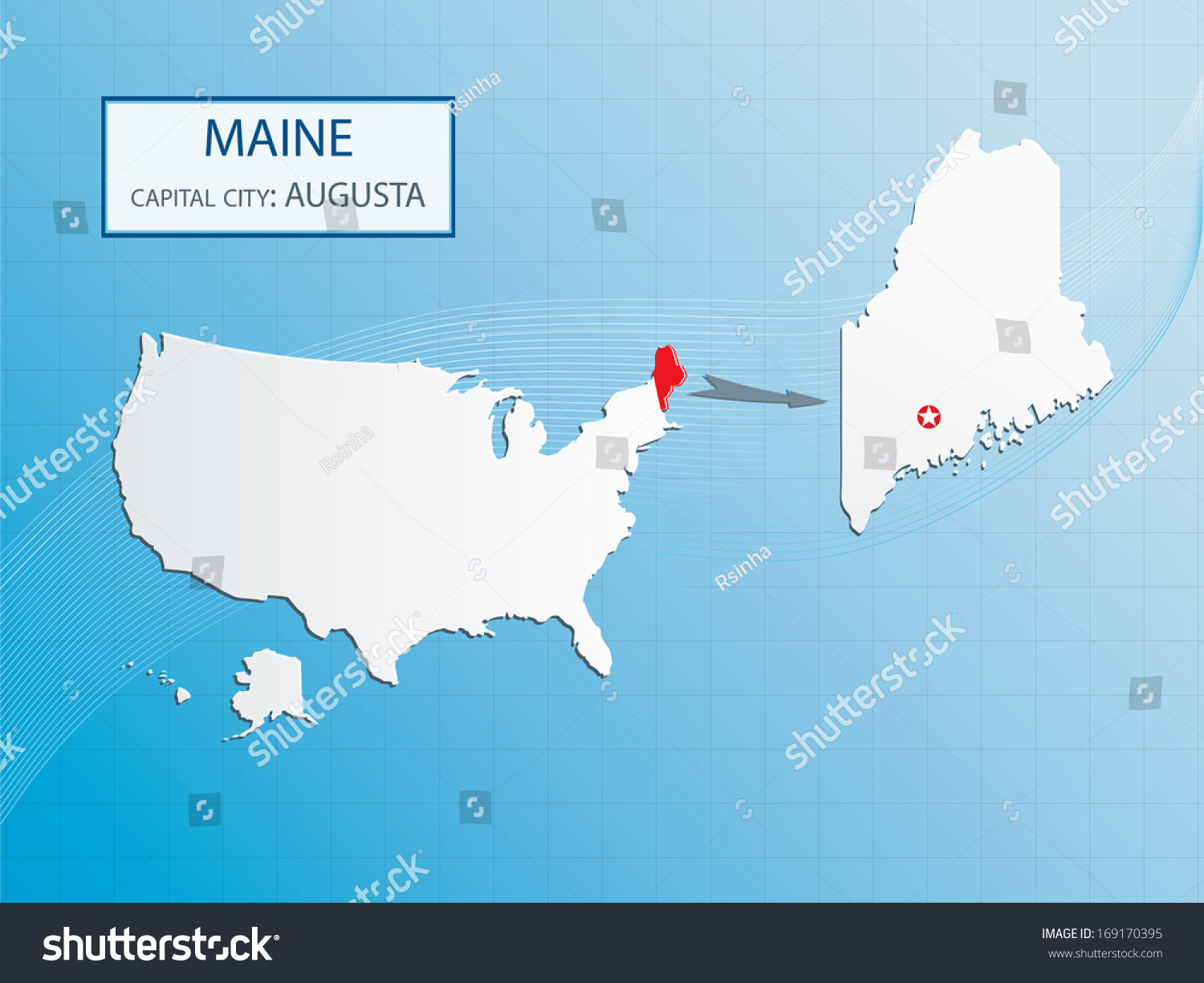 Maine Location On The US Map Maine Map Showing The Major Travel - Maine state usa map