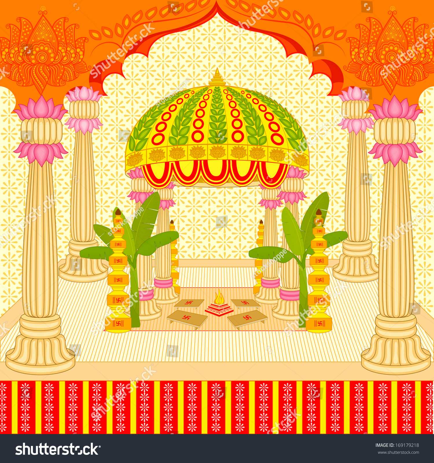 Vector Illustration Indian Wedding Mandap Stage Stock Vector