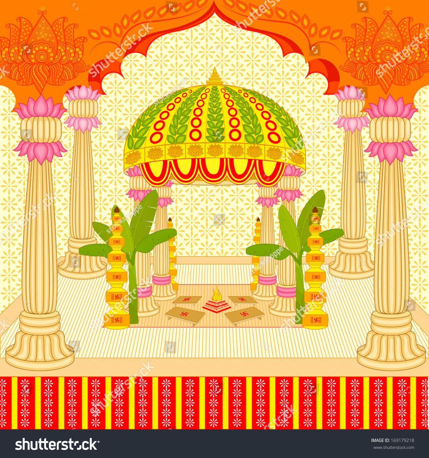 Vector Illustration Indian Wedding Mandap Stage Stock Vector 169179218