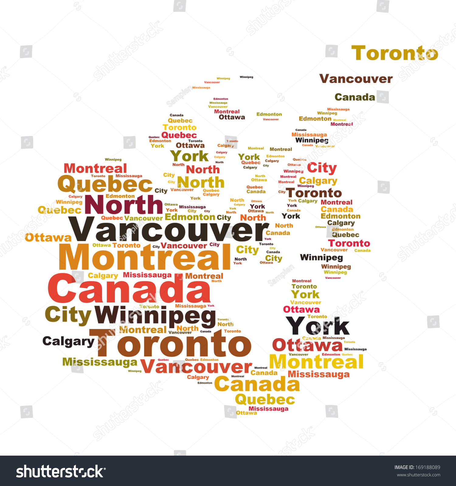 canada map words cloud larger cities stock illustration