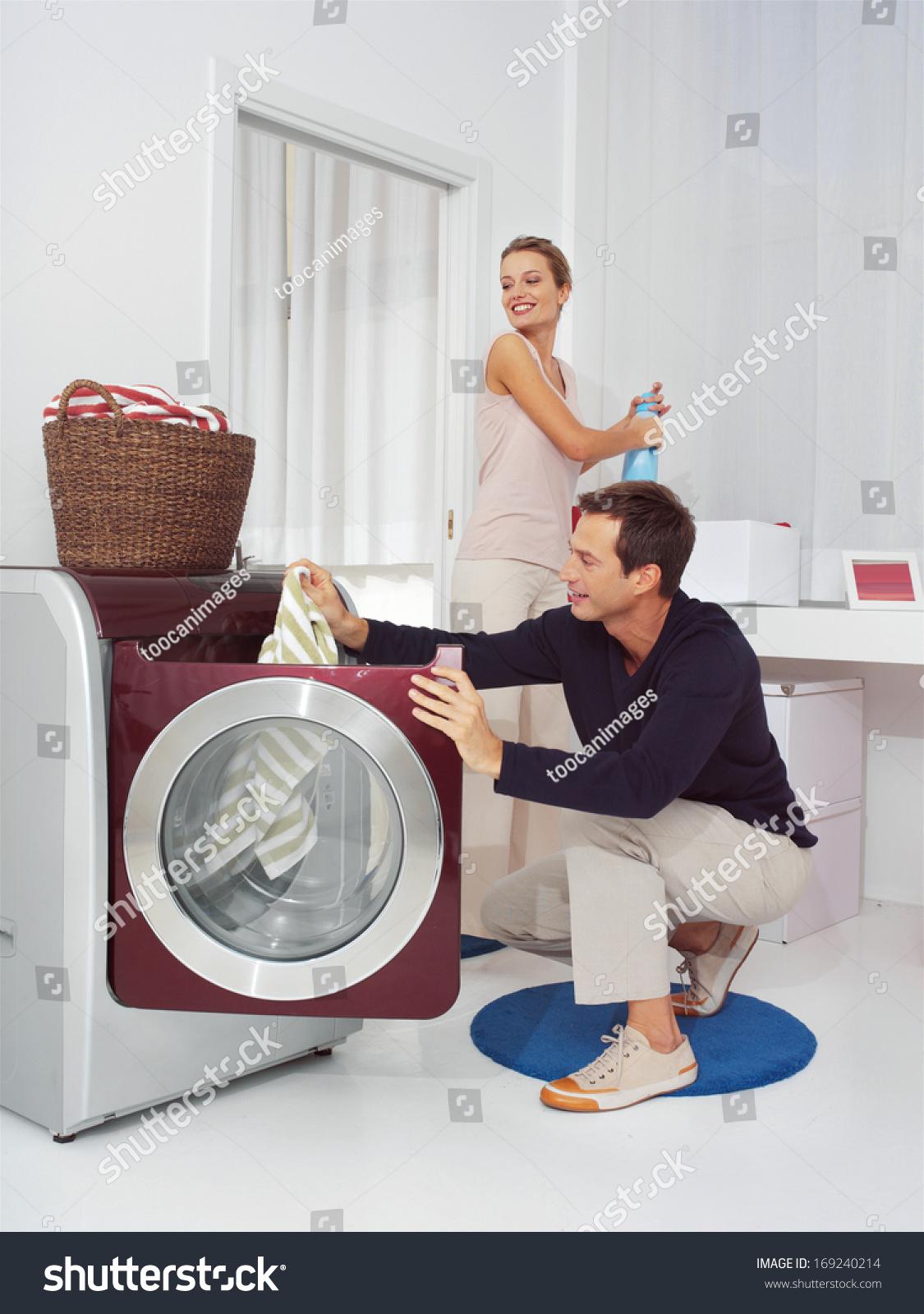 puts in washing machine