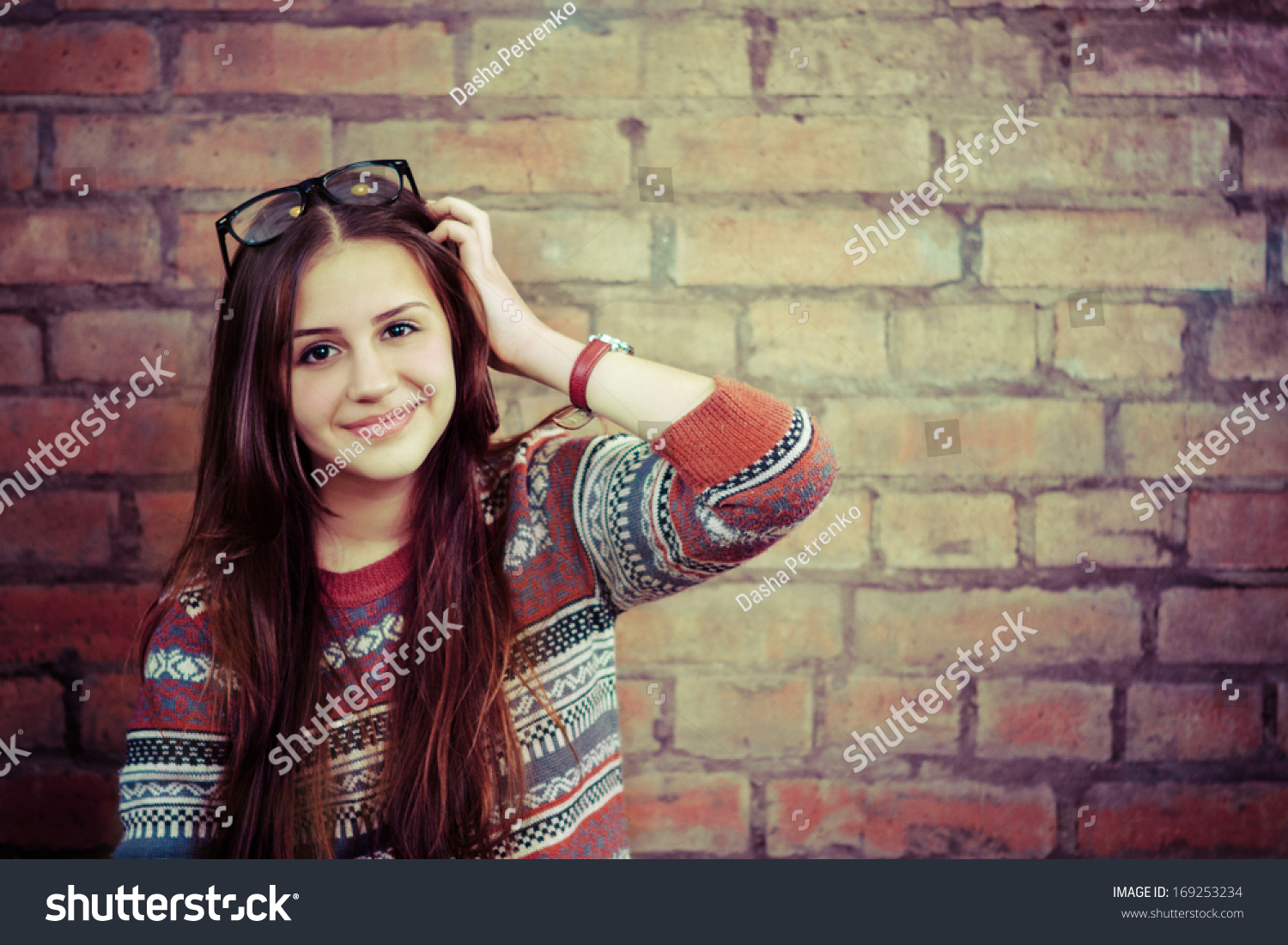 close portrait beautiful cute teen stock photo 169253234