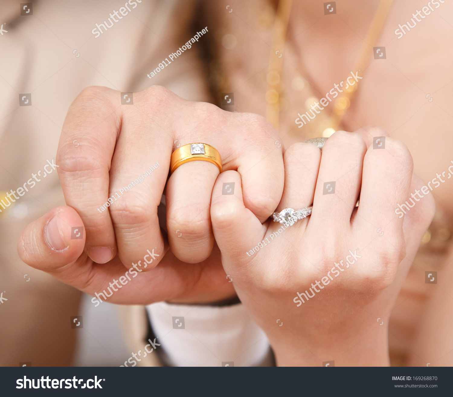 Bride Groom Wear Wedding Ringshook Each Stock Photo Royalty Free