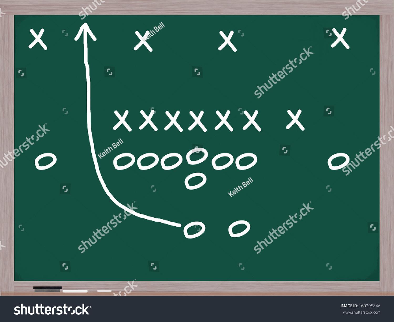 Football Play On Chalkboard Diagrams Xs Stock Illustration 169295846