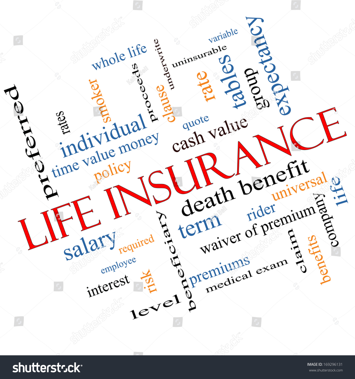 Whole Life Insurance Policy Quotes Life Insurance Word Cloud Concept Angled Stock Illustration