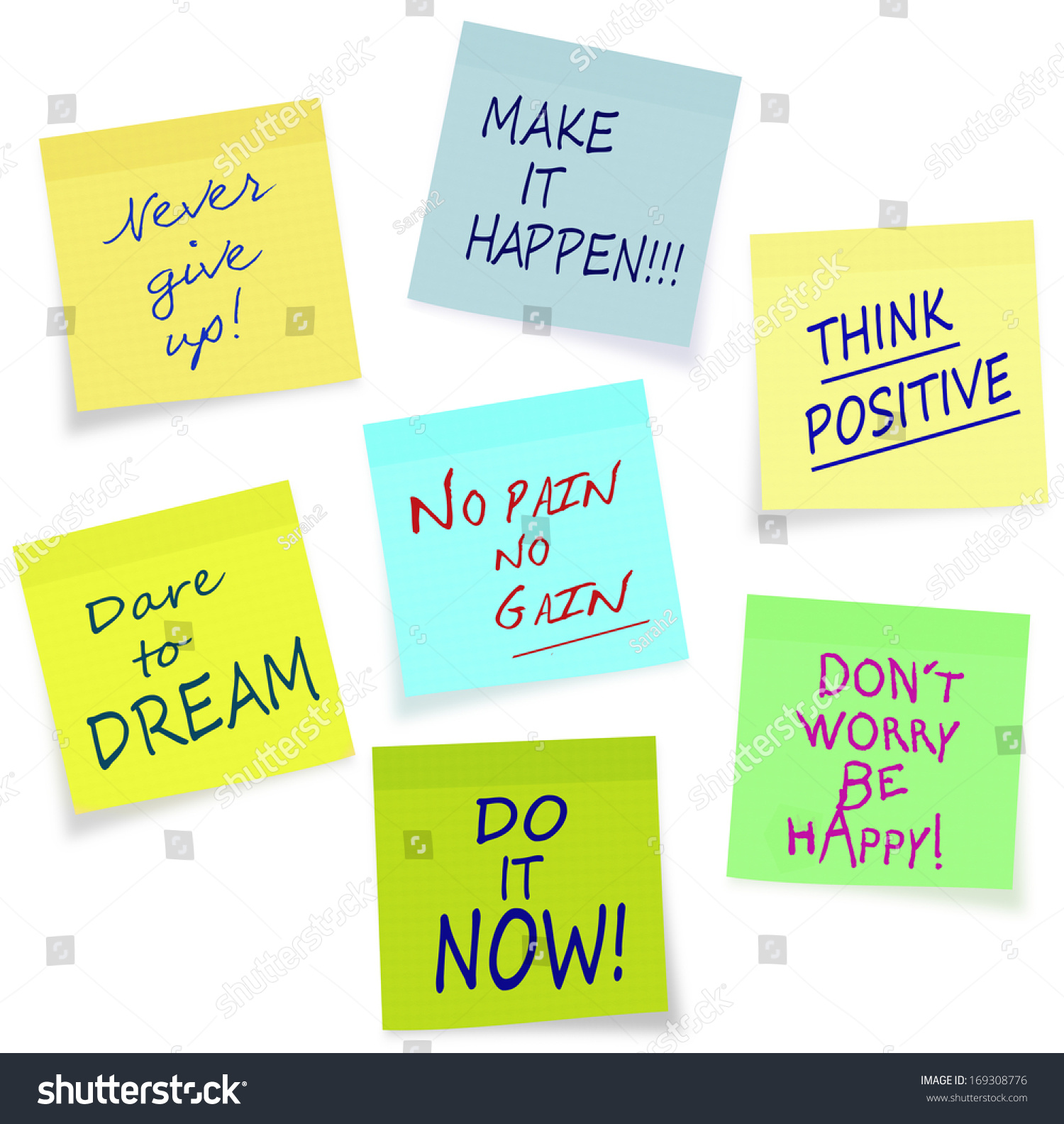 Positive Motivation Messages On Sticky Notes Stock ...
