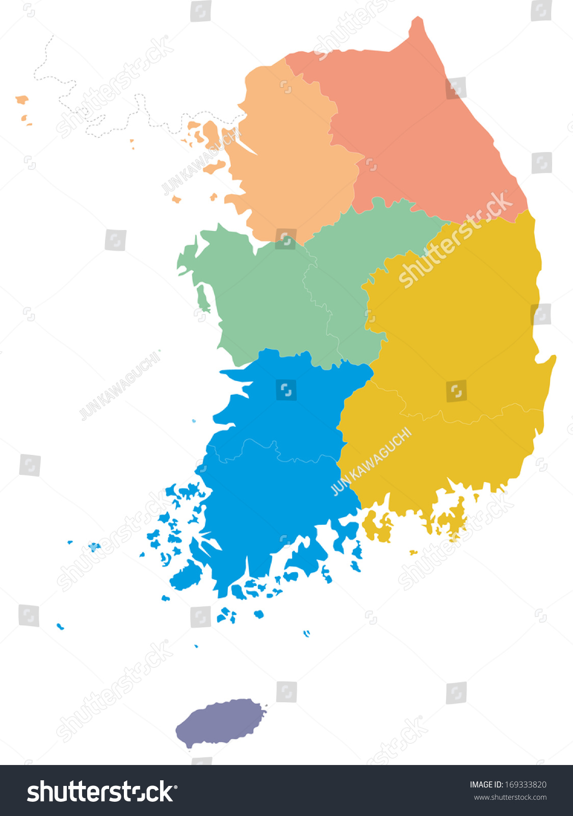 This Map South Korea Simple Map Stock Vector 169333820 - Shutterstock