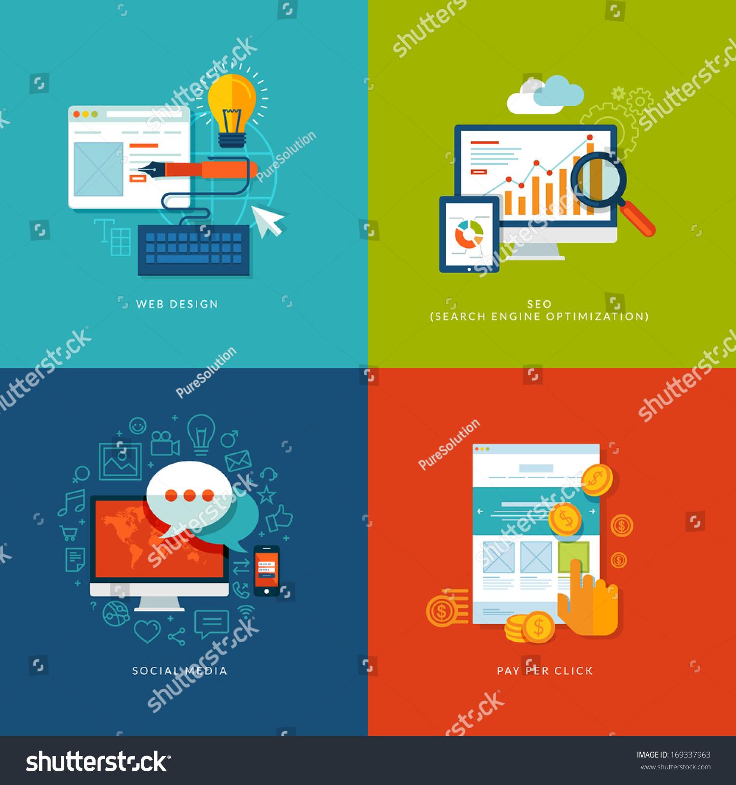 Set flat design concept icons web stock vector 169337963 for App per design