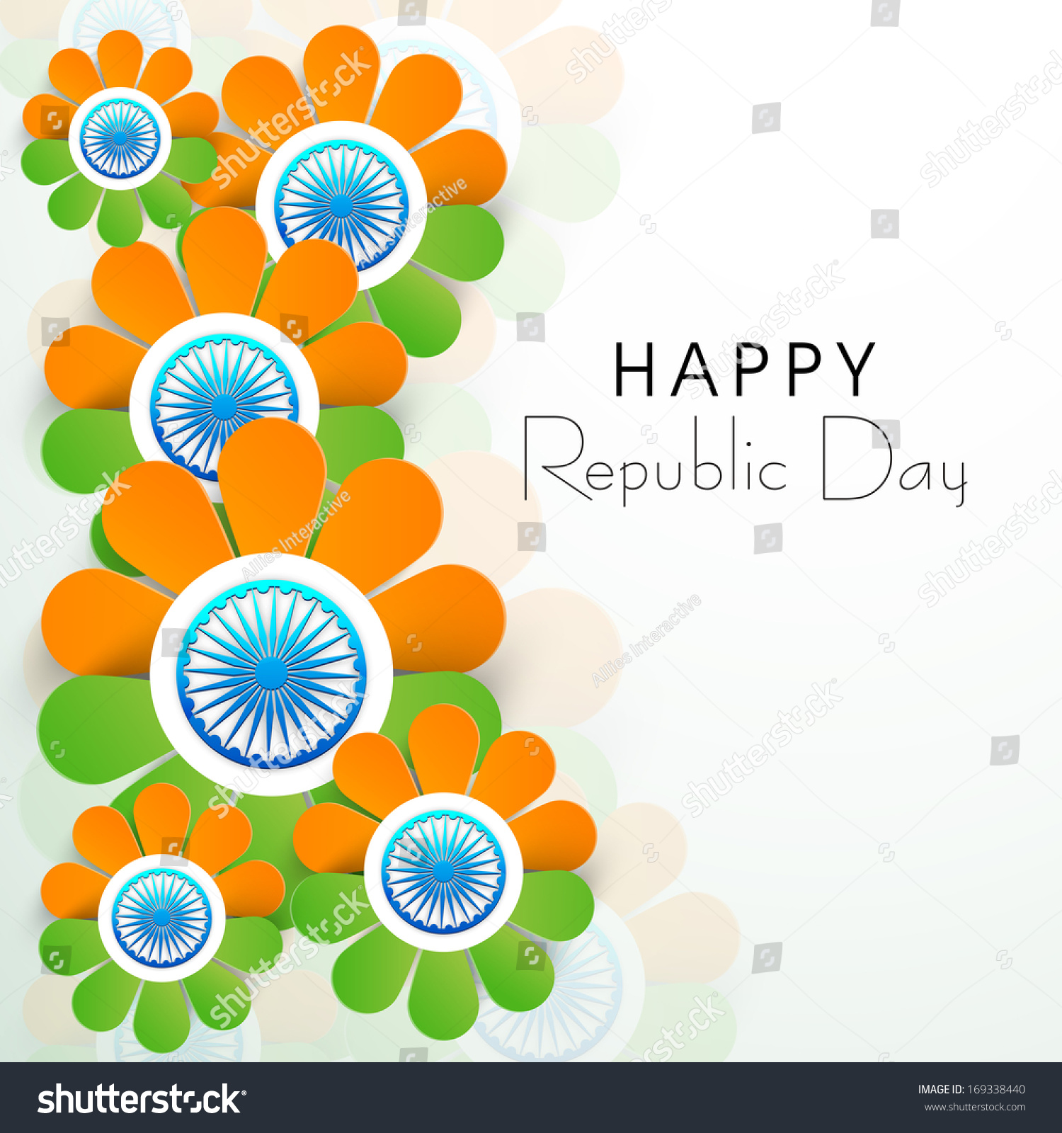 Colors website ashoka - Happy Indian Republic Day Concept With Beautiful Flowers In National Flag Colors With Ashoka Wheel On