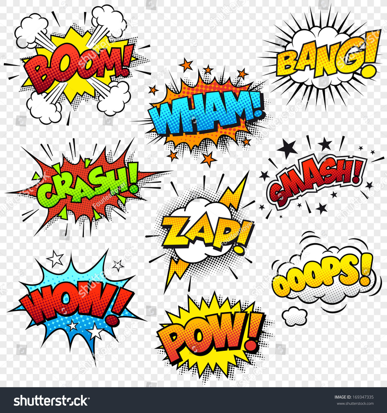Collection Of Nine Multicolored Comic Sound Effects Stock