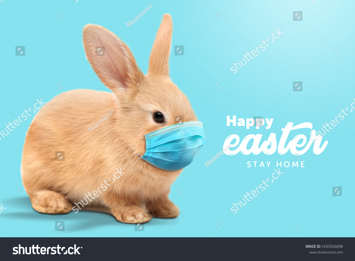 Creative minimal Happy Easter design  the rabbit inside of home line with mask for coronavirus (Covid-19) colorful eggs around the composition shows message Happy easter and stay home. (Twitter size) #1693526098