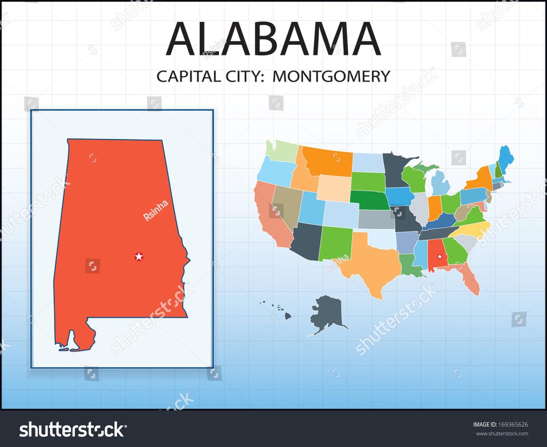 Alabama Map Capital City Montgomery Marked Stock Vector - Map usa alabama